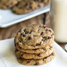 These Oatmeal Cookies are full of mini chocolate chips and peanut butter.  Gluten free cookies never tasted so good! (non-GF too)
