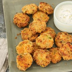 Delish! Mini #Salmon Cakes with Lemon-Herb Aioli.
