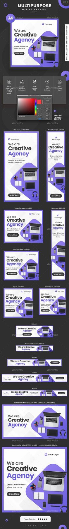 Buy Multipurpose Web Banner Set by Hyov on GraphicRiver. Promote your Products and services with this great looking Banner Set. Banner Design, Layout Design, Web Design, Graphic Design, Brochure Cover, Brochure Design, Typography Poster, Typography Design, Facebook Ad Size