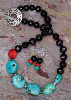 Blue Turquoise and Black Agate Necklace and Earrings Set