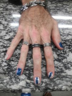 I went with a dark blue metallic, and wanted deva mirror. I will bring deva mirror next time. Fun colors, with stripe on two flangies. Please leave rather you like. Comment if you wanr. Men Nail Polish, Mens Nails, Nails Inspiration, Style Inspiration, Male Grooming, Men Wear, Male Feet, Toenails, How To Look Better