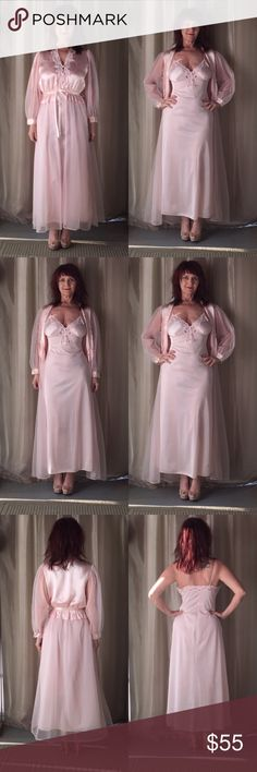 2 PC SHEER & SATINY PINK VINTAGE PEIGNOIR & SLIP This is a beautiful piece of vintage night fashion. In some places they would wear this out!  Spaghetti strap nightgown with built in bust accommodations! Its a simple fit design with a bit of lace & small button detail to add softness. The peignoir has long puffy sheer sleeves, sheer bottom, satiny fabric at the top half with a pink satin ribbon tie at the waist. Button front & gathered at the wist to add volume! I styled it with pale pink…