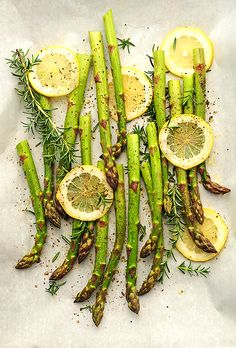 Roasted asparagus with lemon and rosemary.
