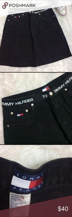 Vintage Tommy Hilfiger Denim black skirt Size 14 good condition super stylish skirt with signature elastic