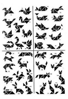 Style: tangram, like origami but Tangram Puzzles, Logic Puzzles, Handmade Gift Tags, Brain Teasers, Math Games, Maths, Geometric Designs, Pattern Blocks, Kids Learning