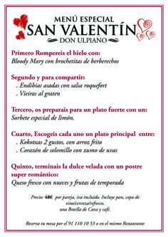 Menú especial de san Valentin en Don Ulpiano san Bernardo
