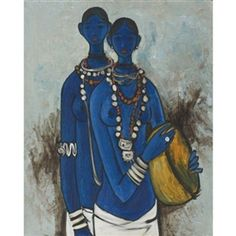 Artwork by B. Prabha, UNTITLED (SISTERS), Made of Oil on canvas