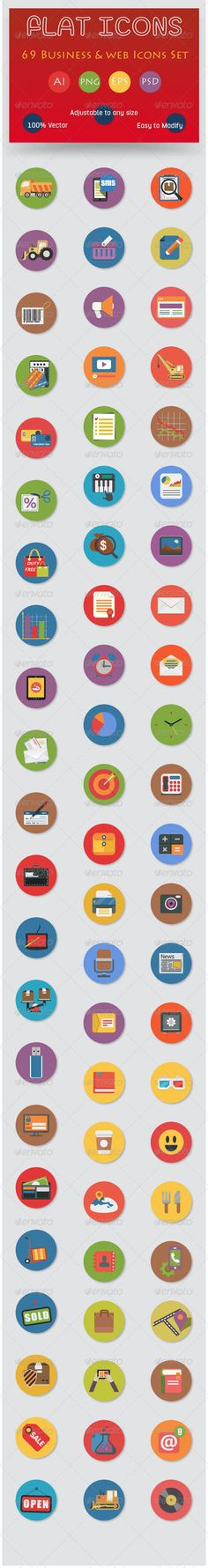 69 Flat Icons Set - Business and Web Services Icon  	analytics, application, business, business icons, cloud, coding, communication, computer, concept, connection, data, flat icons, icon, interface, internet, management, mobile, network, office icons, page, research, search engine, seo, server, service, vector flat icons, web, web icons, webpage, wifi
