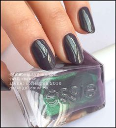 Essie Gel Couture - Twill Seeker – enchanting pewter with sage luster. Your first coat will get you to the bottle shade. The second coat will get you a shade darker than the bottle. Me? Two. Two wears better.