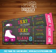 Printable Chalkboard Girl Roller Skating ticket birthday invitation | Roller Blades | Skate Park | Digital File | Girls Birthday Party Idea | Rollerskating | Skate | FREE thank you card | Party Package Available | Banner | Cupcake Toppers | Favor Tag | Food and Drink Labels | Signs | Candy Bar Wrapper | www.dazzleexpressions.com