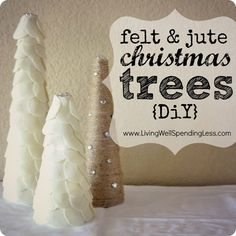 felt & jute Christmas tree display {DiY}--inspired by felt trees in Land of Nod catalog.  (Cute & easy project to do with kids!)   #kids #Christmas #crafts
