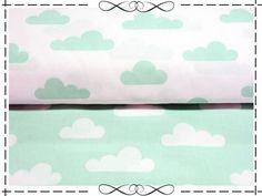 Weiteres - Baumwolle, minze Wolken auf weiß - ein Designerstück von imagine-shop bei DaWanda