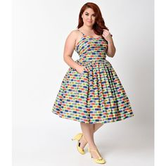 Bernie Dexter Plus Size 1950s Multicolor Chelsea Ticket To Ride Swing... ($158) ❤ liked on Polyvore featuring plus size women's fashion, plus size clothing, plus size dresses, white tea-length dresses, spaghetti strap dress, white trapeze dress, women's plus size dresses and plus size trapeze dress