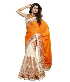 Loved it: Moh Manthan Orange Lahenga Saree, http://www.snapdeal.com/product/moh-manthan-orange-lahenga-saree/1340848671