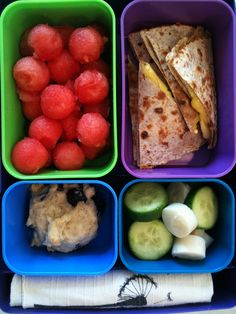 Cheese and veggie quesadilla with an assortment of fruit.