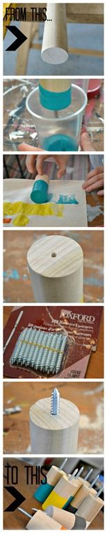 DIY wooden paint-dipped coat hooks. From a dowel. tutorial by NellieBellie