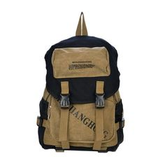 0576d8ec9c77 Tonwhar Mens Casual Canvas Backpack Bag Hiking Daypacks Khaki -- You can  find out more
