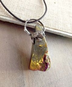 Colored pendant. Pendant with titanium quartz. by AcoyaJewellery