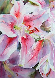 """Stargazers""  watercolor lilies - Copyright Ruth S. Harris"
