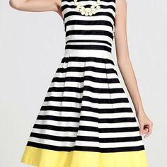 Stripe with Yellow Sleeveless A-Line Midi Dress