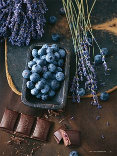 lavender, blueberries and chocolate. just a slice of heaven