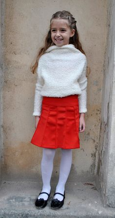Designer knee-high neoprene skirt for girls in by ForCutiesKids