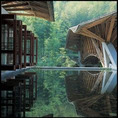Japanese simplicity and South American Architect Simón Vélez, made with chinese Bamboo in China #Architecture #Japanese #American #China #bamboo #simplicity #water #mirror #beautiful #nature #archilovers #archidaily #architexture #architects...