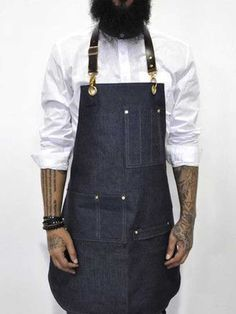 Bartender Apron in Chambray Bartender Uniform, Short Vans, Barber Apron, Shop Apron, Work Aprons, Apron Designs, Leather Apron, Aprons For Men, Jackets