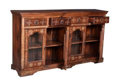 Vintage teak sideboard, inlaid with bone....really lovely. It is a very well made, sturdy piece of furniture, with four glazed doors and four drawers.   This is a really good looking piece of furniture that was skilfully built in Rajasthan. I believe the bone inlaid pieces are camel bone. This would look fab in a contemporary or period style home.  DIMENSIONS: 172 X 37 X 94cms
