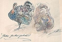 Citation: Walter Shirlaw watercolor of two turkeys, ca. Dorothea A. Dreier papers, Archives of American Art, Smithsonian Institut. Archives Of American Art, Poster Fonts, 3 Arts, Watercolor Bird, Holidays And Events, Happy Holidays, Art Blog, Moose Art, Fall
