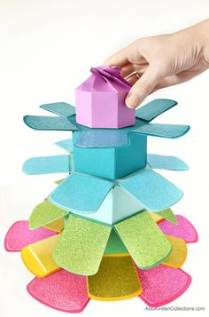 How to Make an Explosion Stacking Tower Gift Box - Download your free exploding gift box SVG and PDF printable templates.
