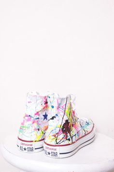 Adult White High Top Splatter Painted Converse Sneakers Adult Size 4, Neon Lights Colors, $105