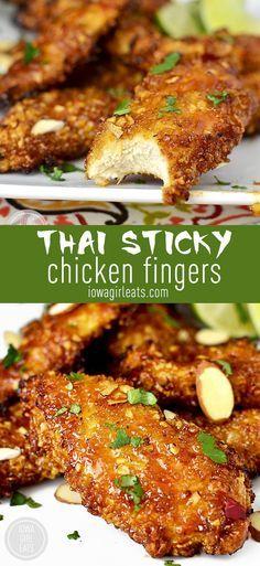 Gluten-Free Thai Sticky Chicken Fingers are crunchy, sticky, and irresistible! #glutenfree   iowagirleats.com
