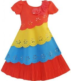 Girls Dress Colorful Bow Tie Pageant Party Holiday  Kids Size 6-10 New  Price : $18.99