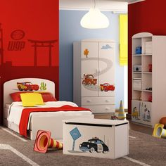 Simple tips for selecting themed decorations and creative kids room design ideas will help children and their parents personalize and beautify their homes, add character to children bedroom designs with spectacular accents that reflect kids personalities Kids Bedroom Designs, Kids Room Design, Creative Kids Rooms, Lightning Mcqueen, Playroom, Toddler Bed, Interior, Furniture, Disney Cars