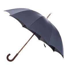 Francesco Maglia 1854 men's italian handmade brown woven leather umbrella with navy white striped canopy ( art.325 ), $299