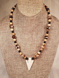 Carved Bone Arrowhead Necklace unisex bone beads handmade