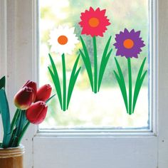 ▷ + 30 ideas in pictures for beautiful window decoration Easter - Dekoration - Fruit Plus, Paper Cutting, Kindergarten, Clip Art, Jar, Windows, Spring, Pictures, Crafts