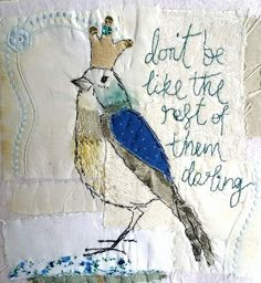 Embroidery machine ideas projects textile art ideas for 2019 Free Motion Embroidery, Embroidery Applique, Embroidery Stitches, Machine Embroidery, Embroidery Designs, Fabric Birds, Fabric Art, Fabric Crafts, Bird Quilt
