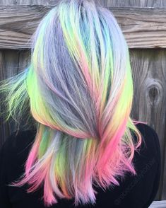 Pastel Neons blowin' in the breeze This look from last year was one of my personal faves  #pastelhair #neonhair #silverhair #greyhair #colorfulhair #hairstyle #haircolor #hair