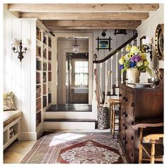 Pin by jill walker on house love in 2019 home decor, cottage furniture, cot Cottage Living, Cottage Homes, Cozy Cottage, Cottage Entryway, Country Cottage Interiors, Rustic Entryway, Farm Cottage, Cottage Staircase, Mountain Cottage