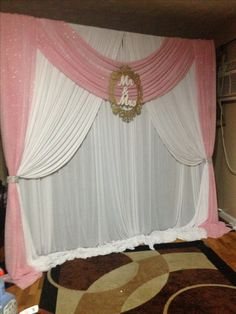 White and Pink Wedding backdrop