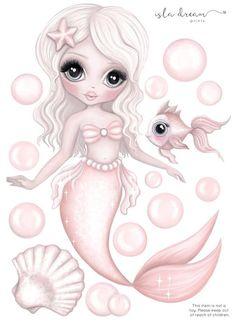 Jewel The mermaid - Fabric Wall Decals – Isla Dream Prints Mermaid Fabric, Mermaid Room, Mermaid Art, Mermaid Pics, Mermaid Images, Mermaid Drawings, Unicorns And Mermaids, Kids Wall Decals, Mermaid Wall Decals