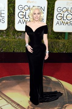 See all the best red carpet fashion from the 2016 Golden Globes here: Lady Gaga