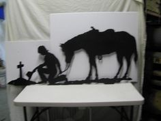 Praying+Cowboy+and+Horse+XL+Metal+Silhouette+Wall+by+cabinhollow,+$175.00