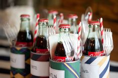 summer party soda and silverware in a tin can with scrap book paper and name tag