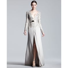 Women's Elie Saab Long-Sleeve Tweed-Bodice Gown ($7,990) ❤ liked on Polyvore