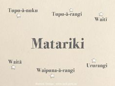 Wallpaper to download for Maori language week. Matariki Matariki, Tupu-ā-nuku, Tupu-ā-rangi, Waitī, Waitā, Waipuna-ā-rangi, Ururangi. Matariki is the mother surrounded by her six daughters, Tupu-ā-nuku, Tupu-ā-rangi, Waitī, Waitā, Waipuna-ā-rangi and Ururangi. Return to your ancestral mountains so that you may be cleansed by the winds of Tāwhirimātea.