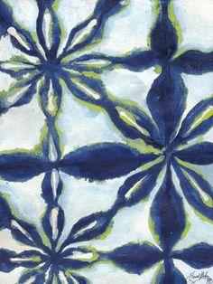 Green and Blue Shibori I Art Print by Elizabeth Medley at Art.com
