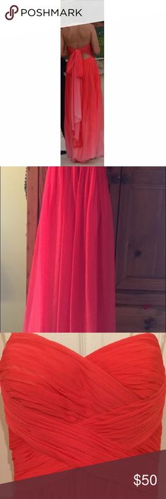La Femme Prom Dress Ombré Coral strapless Formal dress. Fun and flirty ties in knot or bow in back and gracefully draped. La Femme Dresses Prom